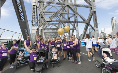 members of Team Cure Brain Cancer participating in Bridge to Brisbane