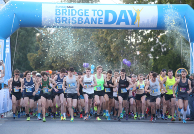 Runners at start line for Sunday Mail Bridge to Brisbane 2017.